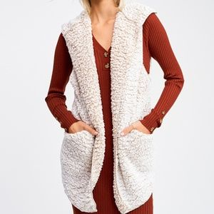 Sherpa Hooded Cardigan Vest